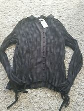 M&S See Thru Blouse black Bnwt Patterned Crinkle Size 16 Bnwt