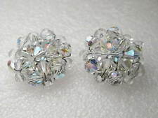 Vintage Silvertone  1940's Cut Crystal/Glass Clip Earrings, Stud, Round, 1""
