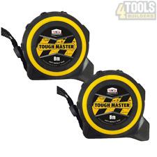 2 x Toughmaster Pocket Tape Measures Metric / Imperial 8M/26ft Anti-Impact