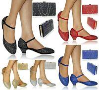 Womens Ladies Diamante Low Block Heel Court Shoes + Matching Bag Party Bridal,25