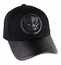 f0969c982409b Black Panther Strapback Baseball Cap Marvel PU Logo Front Official  Merchandise