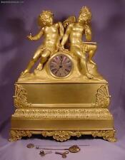 Superb Unique Antique Two Cherubs Circa 1800 Gilt Bronze French Clock