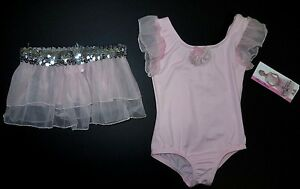NWT Body Wrappers Ruffle Sleeve Leotard and Skirt Lt Pink Silver Girls Szs 2244