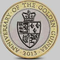 2013 £2 ANNIVERSARY OF GOLDEN GUINEA TWO POUND COIN HUNT 27/32 RARE BIMETAL 2 xx