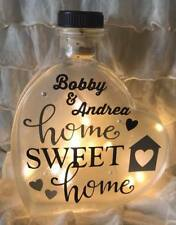 "LED 6"" Glass Light Up Heart Bottle Personalised HOME SWEET HOME Lamp Gift Vase"