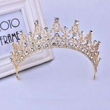Baroque Gold Bridal Girl Prom Jewelry Rhinestone Crown Tiara Comb HeadBand