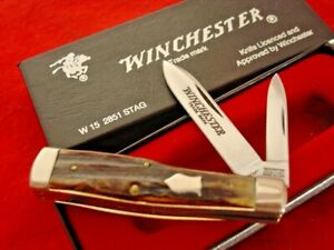 "WINCHESTER USA 1991 Genuine Stag 2851 2 Blade 3"" Gunstock Knife MINT IN BOX"
