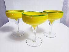 "Hand Blown Yellow w/ Clear Stem & Base Green Rim 6"" Margarita Glasses ~Set of 3"