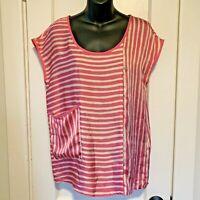 Zara Womens Size Small Pink Striped Short Sleeve Blouse Shirt Boxy Cut Loose