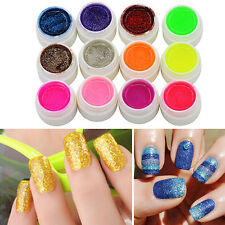 12 Colors Glitter Acrylic UV Gel Builder for Nail Art False Tips Set Highly Nice