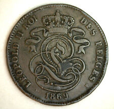 1869 Copper Belgium 2 Centimes Coin Currency YG