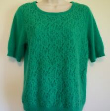 Womens large green lace career short sleeve knit top angora sweater blouse
