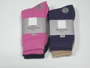 Ladies 4 pairs Thermal Comfy Socks Bargain Outdoor Value Pack Walking Wellies Bo