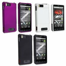 3-pack Hard Rubberized Case for Droid X MB810 -Black, White, Purple