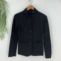 Tahari Blazer Womens Size Small S Black Jersey Soft Knit Jacket Stretch NEW