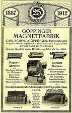 Carl Scholl Göppingen GÖPPINGER MAGNETFABRIK ÄLTESTES GESCHÄFT  Reklame 1912