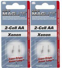 4 Pack (2 packs of 2) AA Mini Maglite Bulbs by Mag LM2A001