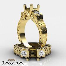 Round Diamond Antique Three Stone Filigree Ring Semi Mount 18k Yellow Gold 0.35C