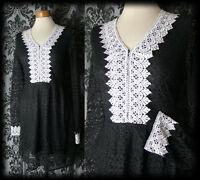 Gothic Black Lace VICTORIAN GOVERNESS White Bib Detail Tea Dress 6 8 Vintage