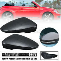 Pair Carbon Black Rearview Mirror Cover Cap For VW Passat Scirocco Beetle CC