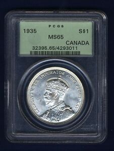 CANADA GEORGE V  1935 1 DOLLAR SILVER COIN GEM UNCIRCULATED, CERTIFIED PCGS MS65