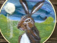 Needle felt picture a Hare and Moon in embroidery frame - handmade
