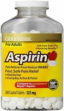 Good Sense Aspirin Pain Reliever Coated Tablets, 325 mg 500 ea