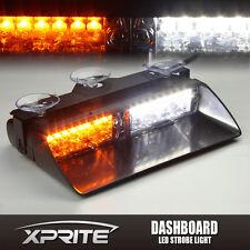 16 LED 18W Windshield Emergency Flash Strobe Light For Interior Dash White Amber
