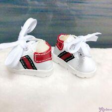 Yo SD bjd Doll Shoes White Running Sneaker Red Stripe SHU081WRD (Foot 4.5cm)
