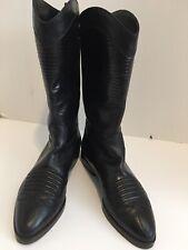 Vintage JOAN & DAVID Black Leather Lizard Skin Mid-Calf Boots Women's Sz 6.5 Med