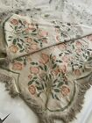 ANTIQUE VICTORIAN FRINGED HAND PAINTED FLORA BEDSPREAD PIANO COVERLET TAPESTRY