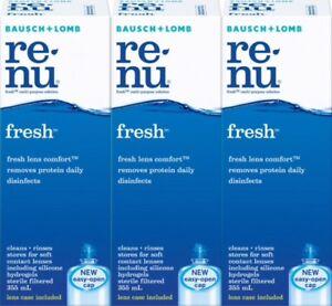 3x Renu Refresh Multi Purpose Solution 355mL Contact Lens Eye Wash Solution
