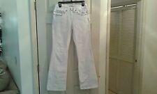 Metro 7 White Denim Jeans Bootcut Size 2  Multi Pockets & Bling         (CT007K)