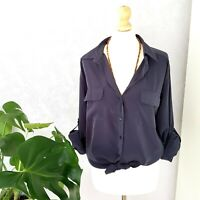 NEW Next Faux Silk Dipped Hem Button Down Blouse Shirt Tunic Blue Grey Top 12