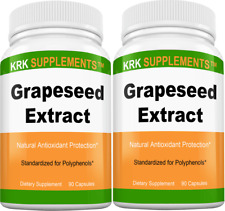 2 Bottles Grapeseed Extract 95% Polyphenols 400mg 90 Capsule KRK Supplement