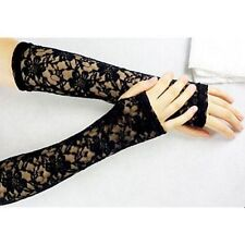 LONG FINGERLESS LACE GLOVES 80s 90s COSTUME GOTH PUNK - Black FAST FREE POST