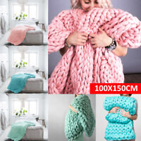MECO Large Warm Sofa Chunky Handmade Knit Yarn Blanket Thick Bulky Knitted Throw