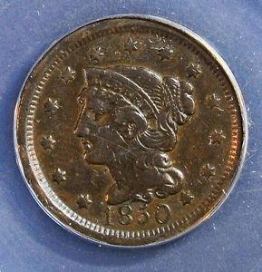 1850 1C BN Braided Hair Cent **EF45**