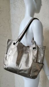 FOSSIL HATHAWAY Pewter Metallic Leather Tote Carryall Purse Shoulder Shopper Bag