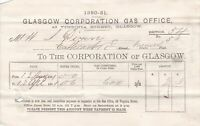 GLASGOW CORPORATION GAS OFFICE, 1881 Amount Due Gas Consumed Invoice Ref 48982