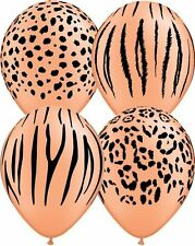 10 pc Neon Orange Safari Animal Print Latex Balloons Happy Birthday Party Jungle
