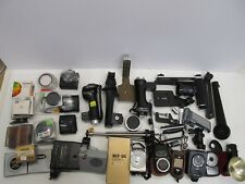 LARGE LOT OF VINTAGE FILM CAMERA ACCESSORIES - METERS FLASHES FILTERS HANDLES+++