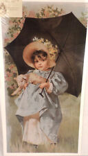 """Victorian Lithograph Print """"Mary and her Lamb"""" Girl with Pet and Umbrella New"""