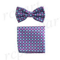New Men's micro fiber Pre-tied Bow tie & hankie Hot pink blue checkers formal