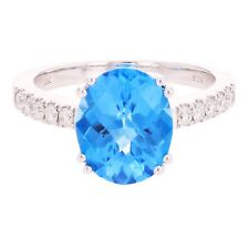 18k White Gold 0.24ctw Blue Topaz & Diamond Solitaire Pave Ring Size 7