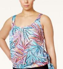 NWT Swim Solutions Palm Multi Tie Side Blouson Skort Tankini Swimsuit 18W mmy01
