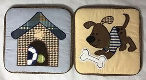Lambs & Ivy Bow Wow Baby Two Puffy Wall Hangings Nursery Puppy Theme