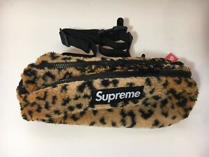 NEW NWT SUPREME LEOPARD FLEECE WAIST BAG FANNY PACK YELLOW IN HAND CHEETAH SHIPS