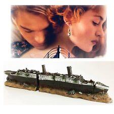 Aquarium Decor Fish Tank Ornament Lost Wrecked Boat Ship 38.5*6*9cm