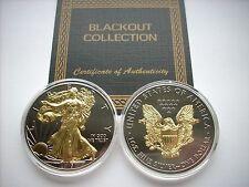 2015 American Eagle BLACKOUT 1 oz .999 Silver Dollar Ruthenium & 24K Gold ASE